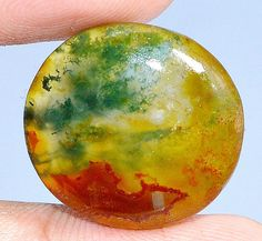 23.20Cts.  100% NATURAL RED MOSS AGATE ROUND CABOCHON UNTREATED LOOSE GEMSTONES #HANDMADE