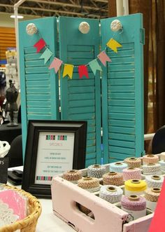 This looks kinda like our New Branding theme! Craft show booth display Walker Walker Traynor . Craft Show Booths, Craft Booth Displays, Craft Show Ideas, Display Ideas, Booth Ideas, Store Displays, Window Displays, Craft Font, Craft Stalls