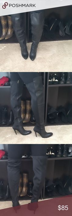 """Black Leather Thigh High Colin Stuart Boots Sexy! Black Leather Thigh High Colin Stuart Boots. Front leather back made material. Heel Height Around 5"""" Colin Stuart Shoes Heeled Boots"""