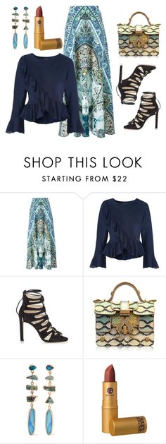 """""""Paisley Maxi & Ruffled Blouse"""" by dana-debanks ❤ liked on Polyvore featuring Etro, Jimmy Choo, Giancarlo Petriglia, Melissa Joy Manning and Lipstick Queen"""