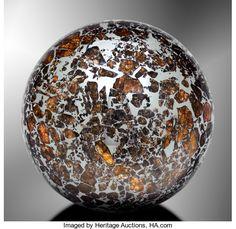 Meteorites:Palasites, SEYMCHAN SPHERE - PALLASITIC METEORITE FASHIONED INTO PERFECTSPHERE. Pallasite - PMG . Magadan District, Russia -(62...