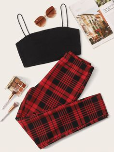 Solid Crop Cami Top & Plaid Leggings Set Check out this Solid Crop Cami Top & Plaid Leggings Set on Shein and explore more to meet your fashion needs! Girls Fashion Clothes, Teen Fashion Outfits, Retro Outfits, Girl Fashion, Girly Outfits, Cute Lazy Outfits, Stylish Outfits, Comfortable Outfits, Aesthetic Clothes