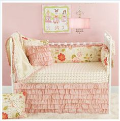 pink and green ruffled baby bedding crib skirt girls nursery pictures