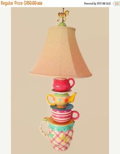 Fall Sale Original Teacup Lamp 36 Tall. by DouceBoutique on Etsy