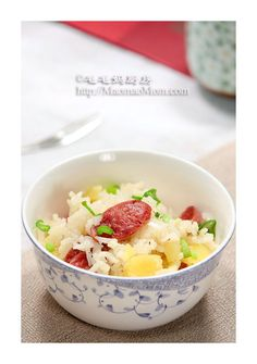 【Rice with Sausage and Potato】 by MaomaoMom My son is not fond of plain rice. But he loves this one-pot dish. You can cook this rice dish in a rice cooker, fast, easy and convenien Chinese Home Cooking Recipes, Asian Cooking, Asian Recipes, Ethnic Recipes, Pressure Cooker Recipes, Pressure Cooking, Recipe For Mom, Mom's Recipe, One Pot Dishes