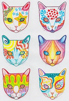 cosmic cats with colored pencils
