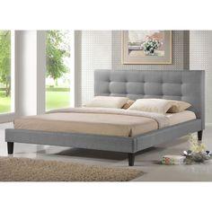 Baxton Studio Quincy Grey Linen Platform Bed | Overstock.com Shopping - The Best Deals on Beds
