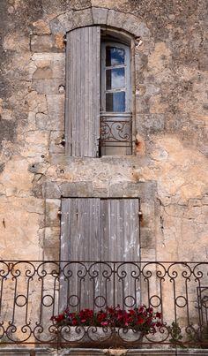 Quaint balcony & window St. Remy de Provence, France