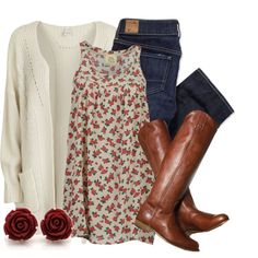 Floral print tunic tank, Dk. wash skinnies, Cream cardi, Chestnut riding boots, Red rose earrings