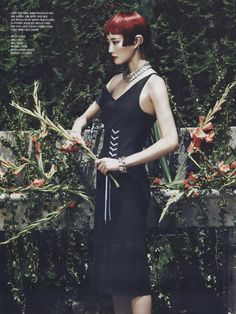 """""""Woman in the Garden"""" Hyun Yi Lee in DIOR Fall 2014 for Vogue Korea August 2014 by Young Jun Kim"""