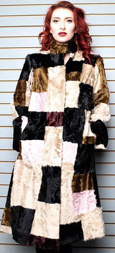 Multi Colored Old School Swakara Fur Coat…