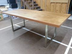 Diy Desk 1 0 The Stain Really Made This Thing Sing Solid Core Slab Door With Iron On Veneer Edging And Craigslist Table Legs Stained A Mix Of