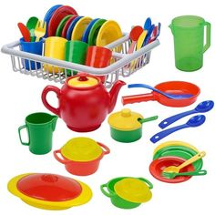 Buy IQ Toys Incredibly Realistic Pretend Play Dish Set - Complete Service for 4 with Drainer Bright Colored Set of 40 Pieces Toddler Kitchen, Pretend Play Kitchen, Toy Kitchen, Little Girl Toys, Toys For Girls, Kids Toys, Children Play, Kitchen Playsets, Accessoires Barbie