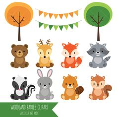 , Forest Baby Animals Clipart Forest Animals Clipart Printable Forest Baby Shower , Woodland Baby Animals Clipart / by ClipArtisan. Forest Animals, Woodland Animals, Woodland Forest, Forest Baby Showers, Woodland Baby Showers, Printable Animals, Diy Bebe, Animal Birthday, Baby Art