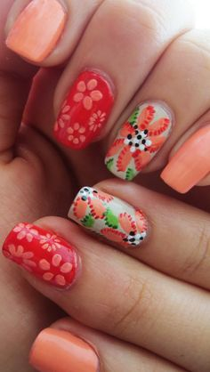 Summer to Fall Nail design #orange #coral #red #Flowers