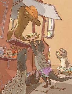 Dilopho-taco Truck and Scutellosaurus in cute nike shorts - DJ Crumrine Dinosaur Drawing, Dinosaur Art, All Dinosaurs, Dinosaur Funny, Jurassic Park World, Extinct Animals, Prehistoric Creatures, Character Design Animation, Wow Art