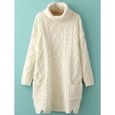 White Turtleneck Side Slit Pocket Cable Knit Sweater Dress (120 BRL) ❤ liked on Polyvore featuring dresses, sweaters, tops, short white dresses, white long sleeve turtleneck, long sleeve short dress, long sleeve turtleneck and short sleeve dress