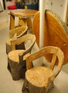 Cement Faux Bois - I'm doing this to a plastic kid's chair to make it look like it's carved from a tree trunk.