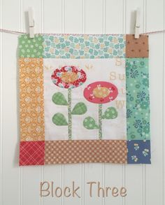 Tutorial for Bloom Sew Along Block #3 featuring Lori Holt's Calico Days fabric collection #iloverileyblake