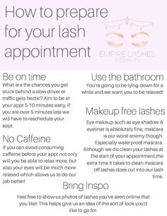 A few handy tips to help us make your lash appointment a smooth & relaxing one. Handy Tips, Helpful Hints, Perfect Eyelashes, For Lash, Eyelash Extensions, Appointments, Salons, Smooth, Make It Yourself