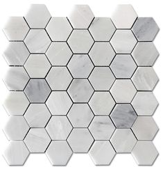 "Carrara Pietra Hexagon Honed 2"" Mosaic Floor and Wall Tile"