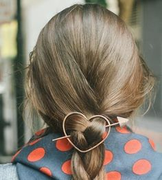Accessorize your tresses with this sweet metal hair barrette. Each one is hand hammered in Brass, Rustic Copper, or German Silver, the thick wire sturdy enough to hold up even thick and heavy hair.