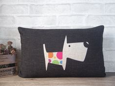 Black+dog+pillow+case+made+with+cotton+linen+black+by+Ideccor,+$21.90