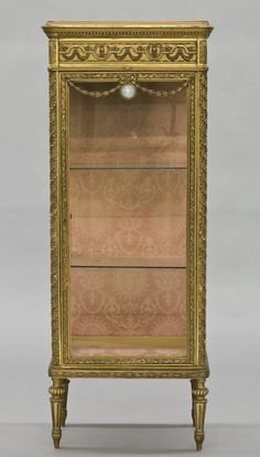 188: French Louis XVI style gilt wood vitrine cabinet : FABRIC ON BACK
