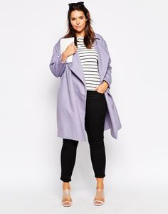 Image 4 of ASOS CURVE Cocoon Duster Coat with Waterfall