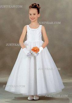 A-Line Scoop Tea-Length Satin Organza Flower Girl Dress