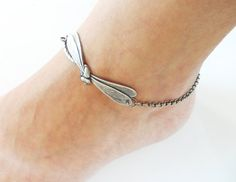Steampunk Dragonfly Anklet Sterling Silver Ox by bellamantra, $18.00