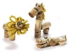 a couple more animals Wine Cork Art, Wine Cork Crafts, Wine Corks, Craft Activities For Kids, Crafts For Kids, Craft Ideas, Circus Crafts, Decor Crafts, Diy Crafts