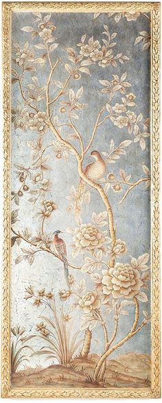 Bradburn Home Silverleaf and Gold Chinoiserie Wall Panel 1 Hand painting on silver leaf. Measures Hanger: Two nail hooks in upper corners. In addition, two eye hooks with pre-attached wire from the base. Chinoiserie Wallpaper, Chinoiserie Chic, Papier Paint, Eyes Wallpaper, French Wallpaper, Framed Wallpaper, Wallpaper Panels, Wall Murals, Wall Art