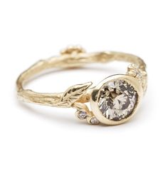 Champagne Diamond Twig and Daisies Solitaire....boy do I love bezel set stones, it's really the type of best setting