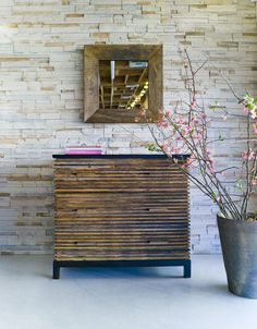 Lotus 3 Drawer Dresser & Campinas Square mirror, both made from reclaimed Brazilian Peroba Rosa wood