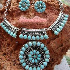 BoldSouthwestNecklaceSet Host Pick -NYE Style Party.  Faux Turquoise Floral design Squash blossom, western, southwest, boho, bohemian, gypsy, hippie, festival Jewelry Necklaces
