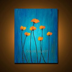 aqua green and orange canvas art Simple Canvas Paintings, Diy Canvas Art, Acrylic Painting Canvas, Painting Prints, Blue Canvas Art, Orange Wall Art, Orange Painting, Poppies Painting, Blue Art