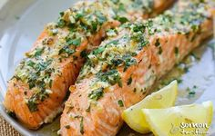 Garlic Herb Roasted Salmon - best roasted salmon recipe ever! Made with butter, garlic, herb, lemon and dinner is ready in 20 minutes. Best Salmon Recipe, Healthy Salmon Recipes, Easy Delicious Recipes, Fish Recipes, Seafood Recipes, Recipies, Garlic Salmon, Roasted Salmon, Honey Garlic Sauce