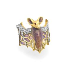 """Majestic Night AN-410. 18 kt yellow gold ring with """"pliqué-à-jour"""" and """"basse taille"""" fired enamel and diamonds.  #jewelry #artnouveau #enamel #barcelona"""