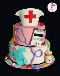 nurse cake, you could make this into a doctor cake Peake :) Pretty Cakes, Cute Cakes, Beautiful Cakes, Amazing Cakes, Beautiful Boys, Fondant Cakes, Cupcake Cakes, Nursing Graduation Cakes, Nursing Party