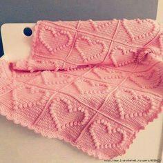 Love baby girl crochet blanket. So sweet
