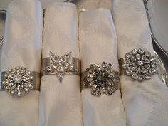 Rhinestone broaches now napkin rings
