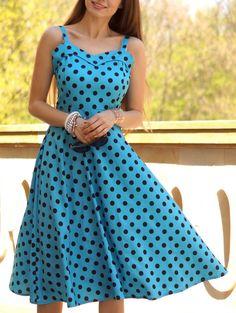 Vintage Style Sleeveless Sweetheart Neckline Black and Blue Polka Dot Print Dress For Women