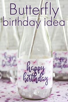 Use these butterfly themed birthday water bottle labels to make party decorations and favors at a butterfly birthday party for kids. #butterfly #birthday #girlbirthday #happybirthday Birthday Favors Girls, Birthday Decorations, Girl Birthday, Happy Birthday, Butterfly Party Favors, Butterfly Birthday Party, Mini Water Bottles, Water Bottle Labels, Water Party