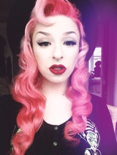 Pastel pink, long, curly, wavy retro hair with fringe roll #vintage #alternative #colour