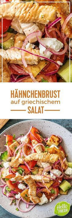 Step by Step Rezept: Hähnchenbrust auf griechischem Salat mit Hirtenkäse und knusprigen Fladenbrotwürfeln Kochen / Rezept / DIY / HelloFresh / Küche / Lecker / Gesund / Einfach / Kochbox / Ernährung / Zutaten / Lebensmittel / 25 Minuten / Salat / Frühling / Feta / Gemüse #hellofreshde #blog #kochen #küche #gesund #lecker #rezept #diy #gesund #einfach #kochbox #ernährung #lebensmittel #zutaten #pute #geschnetzeltes #salat #feta #brot