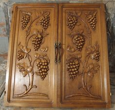 31.57 in ART DECO NOUVEAU 2 Antique French Bronze Fruit Walnut Carved Wood Panel…