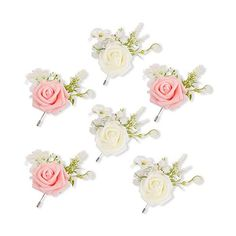 Light Blue MOJUN Groom Boutonniere Wedding Silk Rose Flowers Accessories Prom Man Suit Decoration Pack of 4