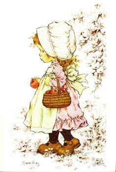Pretty Vintage Sarah Kay Holly Hobbie w Apple Basket Fabric Block Sarah Key, Holly Hobbie, Creation Photo, Cute Clipart, Australian Artists, Cute Illustration, Vintage Prints, Cute Art, Paper Art