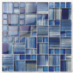 Glass Mosaic Tile Current Deep Blue for kitchen, bathroom, and swimming pools.